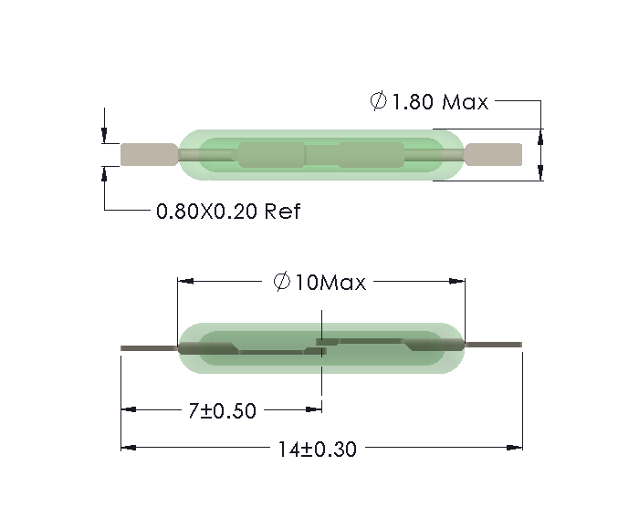 Drawing of MM-1018 Reed Switch with Cropped Leads