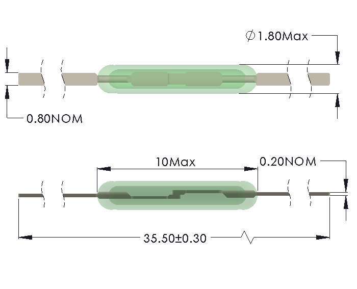 Drawing of MM-1018 Micro Miniature Reed Switch with Full Length Leads