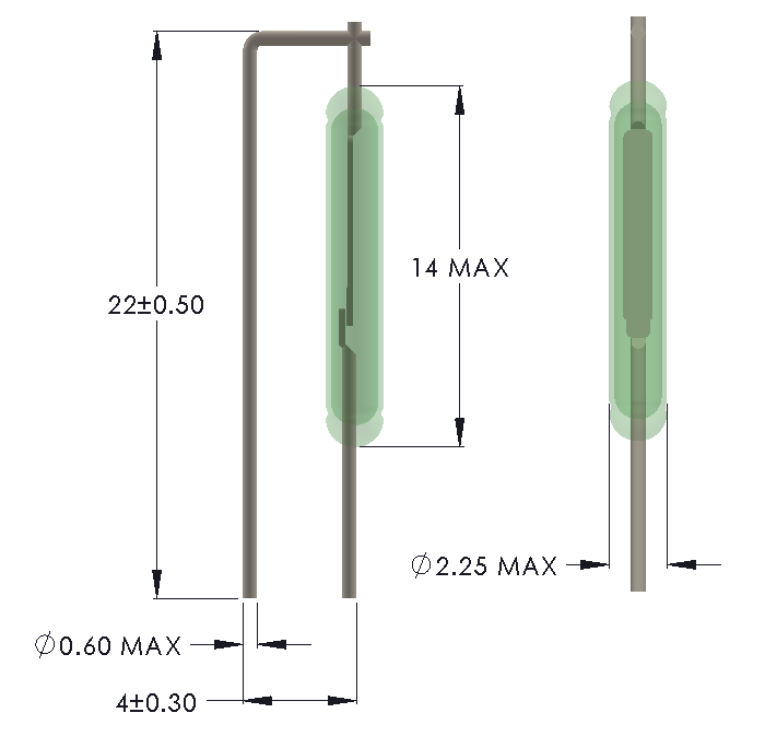 Drawing of MO-1422 with Formed Leads for Vertical mounting