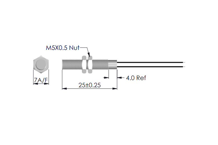 Drawing of MS-225 Threaded Magnet Sensor