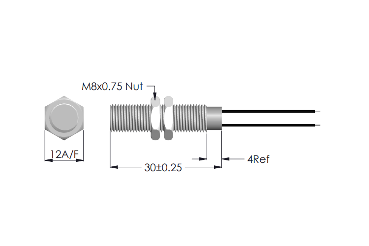 Drawing of MS-228 Threaded Sensor