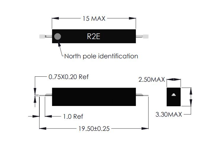 R2E-F Latching SMD Reed Sensor Drawing
