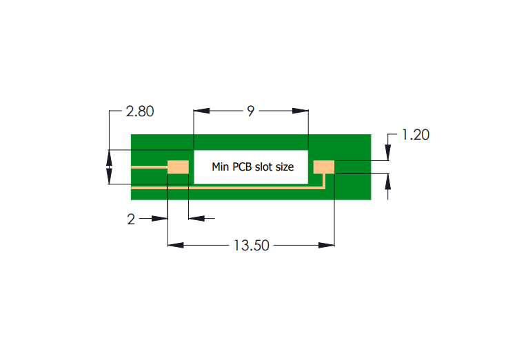 Drawing of R4F Reed Sensor PCB Layout