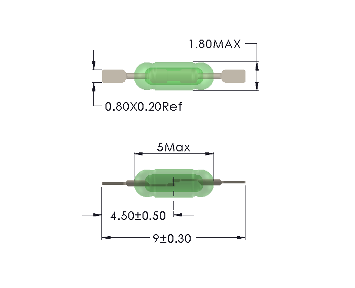 Drawing of UM-0018-M Reed Switch with cropped leads