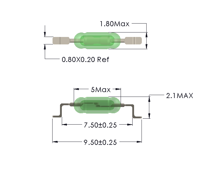 Drawing of UM-0018-M with SMD Formed Leads