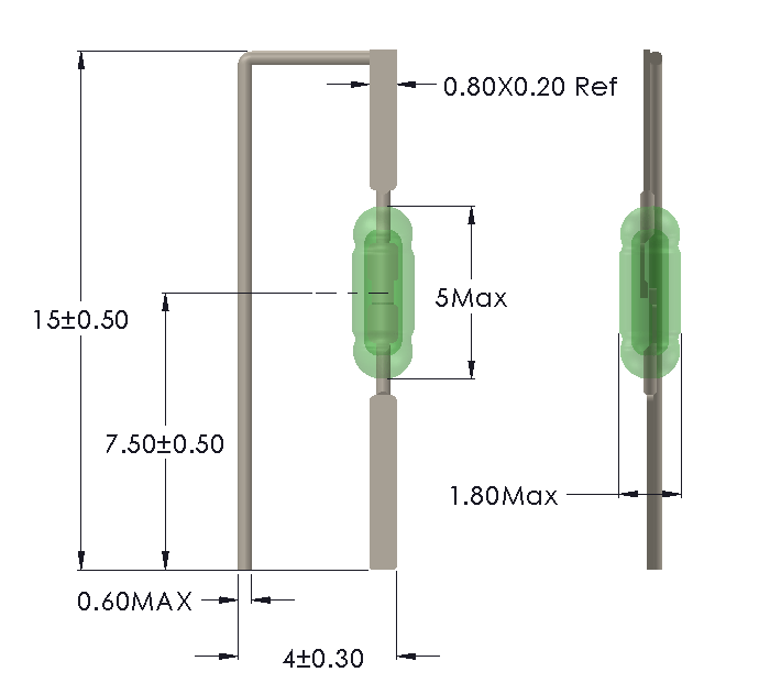 Drawing of UM-0018-M with Formed Leads for Vertical Mounting