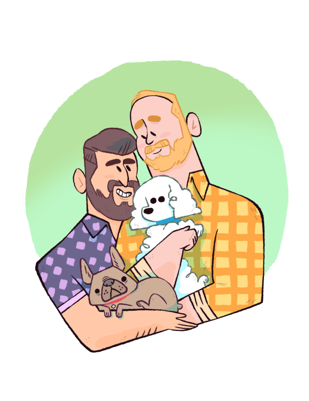 Portrait of a gay couple and their pets