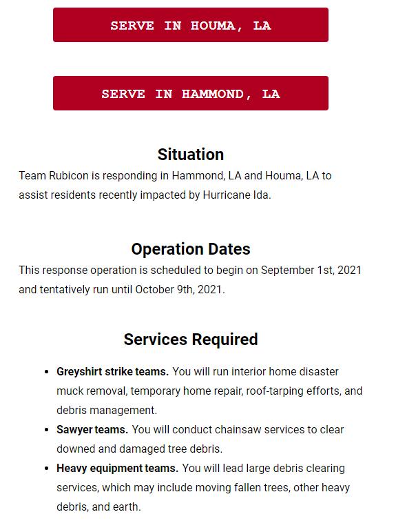 Team Rubicon responding to Hurricane Ida