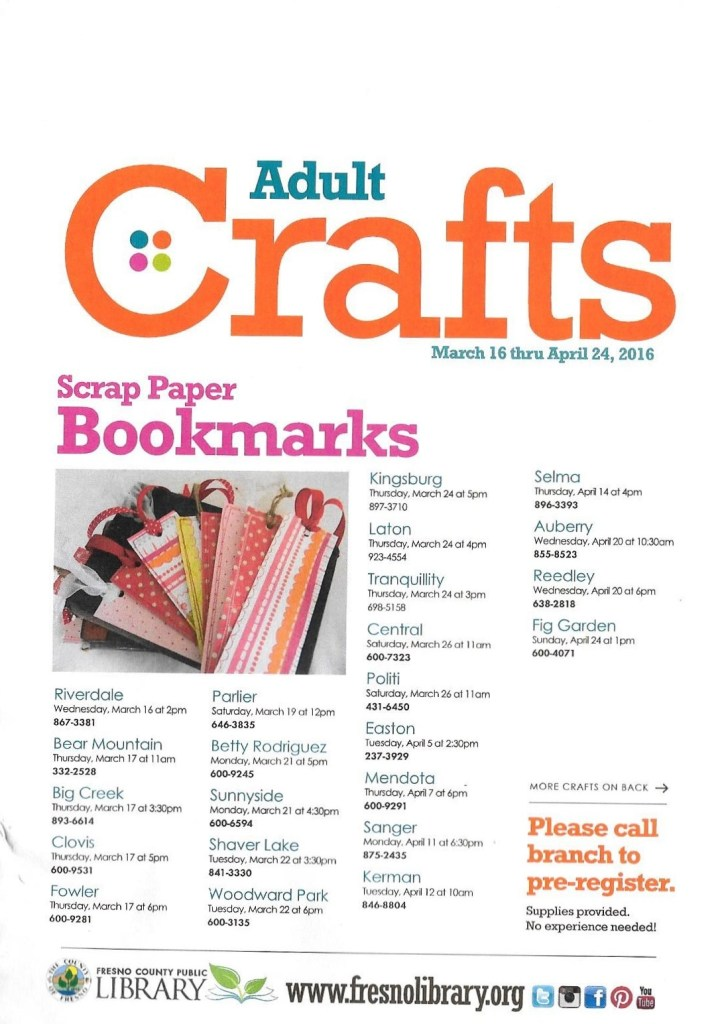 Library April 2016 Adult Crafts