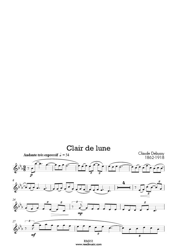Piano free piano sheet music clair de lune : My Favourite Tenor Saxophone Concert Pieces (22 pieces) Edited ...