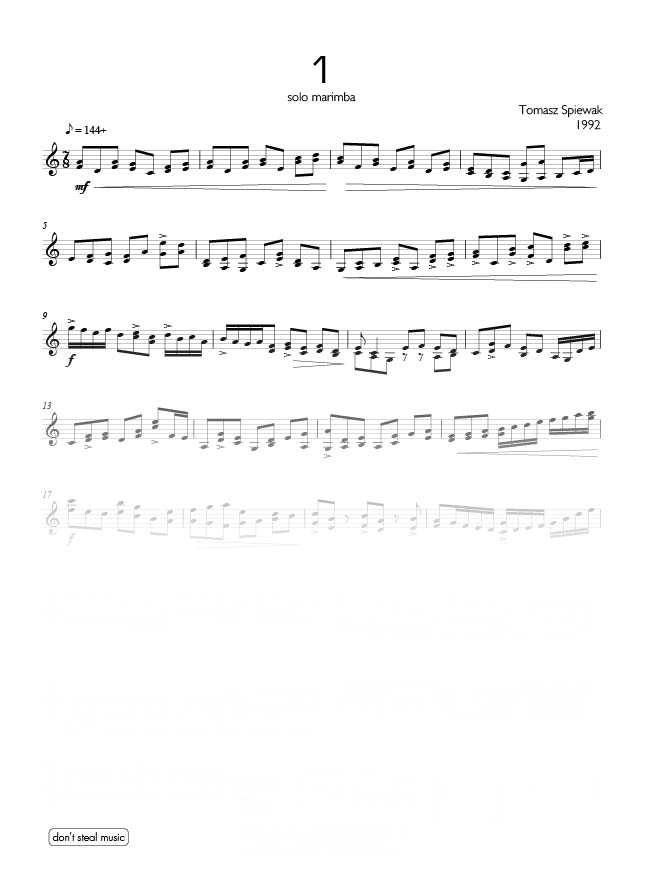 Marimba Studies (11 pieces) by Tomasz Spiewak for Marimba