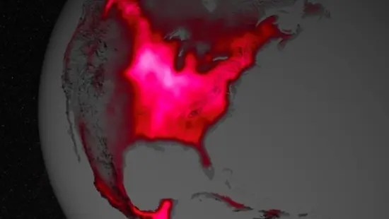 NASA composite image showing rate of photosynthesis around the United States from 2007 through 2011