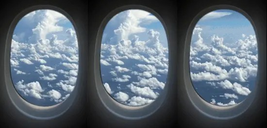 Clouds outside an airplane window