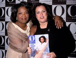 Oprah leaves, Rosie O'Donnell enters, to tape her shows for OWN at Harpo