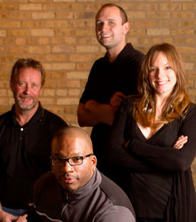 re:think studio's partners:  (From left:  Operations manager John McGrath, Bryan Bullock, Nathan Brown, Jessica Simmon