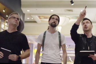 Leviathan's Chad Hutson, Adam Berg, and Jason White brainstorm in the MGM Grand