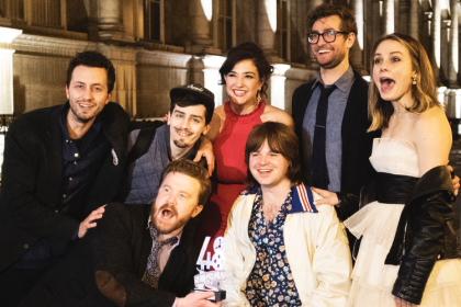Kalopsia Films at Hotel deVille in Paris (Justin Nico Flocco, Nick Wilson, Kyle Cullerton, Hannah Kopen, Colin Rice, Sam May, Ashley Clark). Photo: Luis Flocco