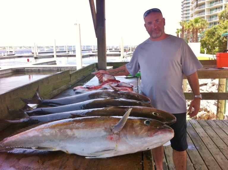 Good catch of Amberjack. The bite was on and our crew did well with their limit of Amberjack. They also caught a nice mess of Vermillion and White Snapper.