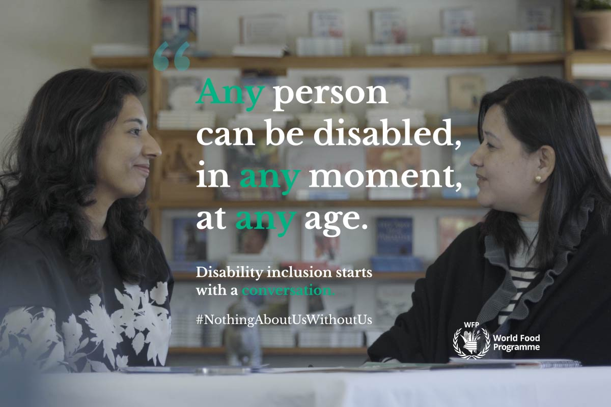 WFP staff with an Advocate for indigenous persons with disabilities