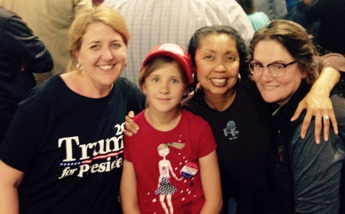 Three moms and a daughter at the San Jose, CA. Trump rally. L to R: Christine, Elizabeth (Christine's daughter) Cynthia Shaffer and Savoula