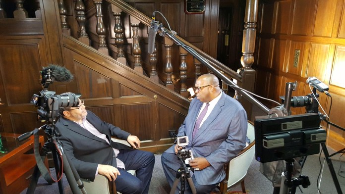 """Author, Michael Eric Dyson discussing """"Tears We Cannot Stop: A Sermon to White America with Michael Reel, Reel Urban News. Reel Urban Images/Reggie Simon"""