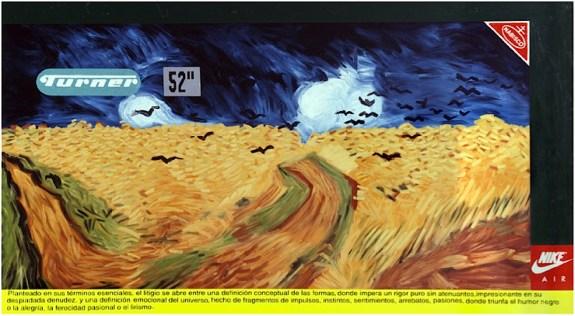 Readymade estilístico #1 (Van Gogh. Texto de Marta Traba) Óleo, vinilo y letras autoadhesivas sobre tela 1995