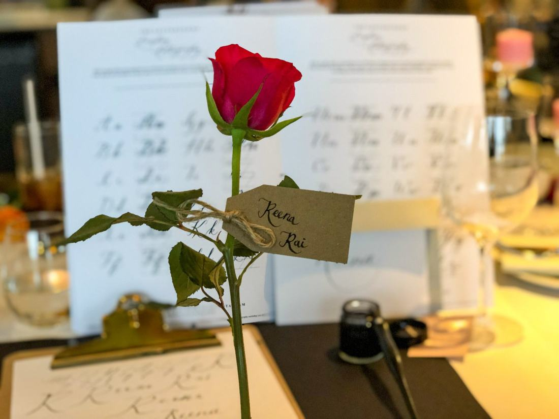 Rose and calligraphy