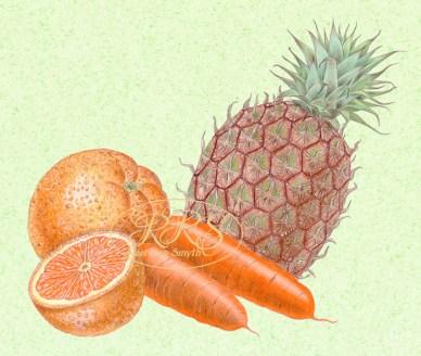 Apelsinid, porgandid ja ananass
