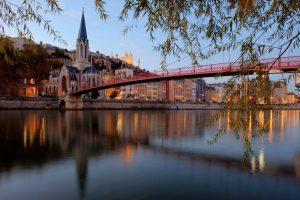 Saint George bridge in Lyon at sunset