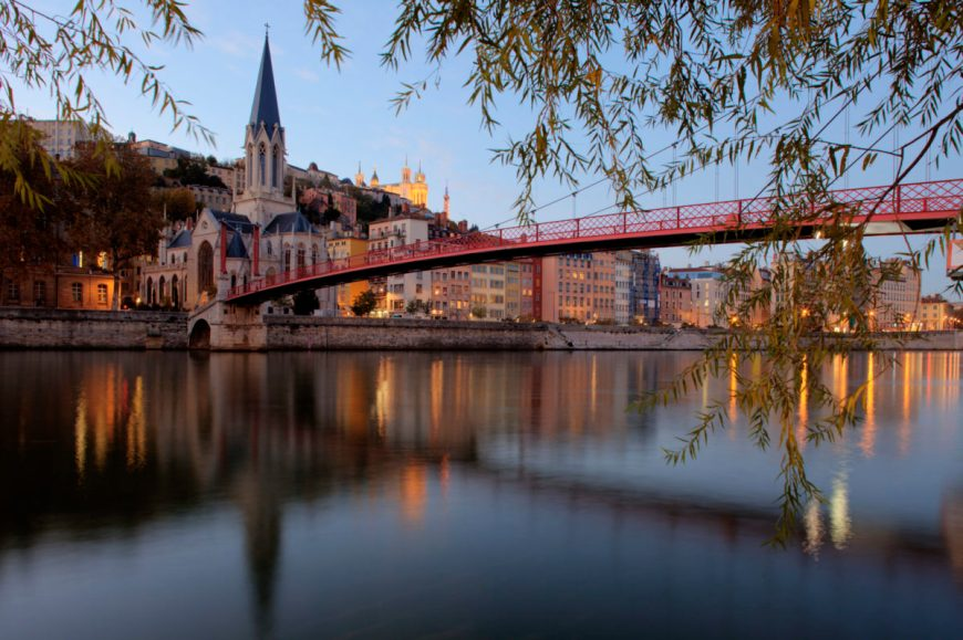 Saint George bridge in Lyon at sunset