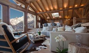 luxury chalet living room with mountain view