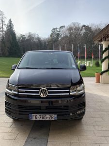 front view VW T6 Caravelle in Evian