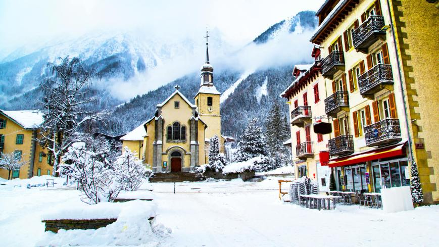 Church centre of Chamonix under snow