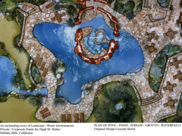 Plan of Playboy Mansion Pool and Grotto 2 by Ron Dirsmith