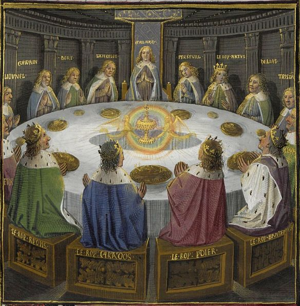 The Round Table experiences a vision of the Holy Grail by Évrard d'Espinques