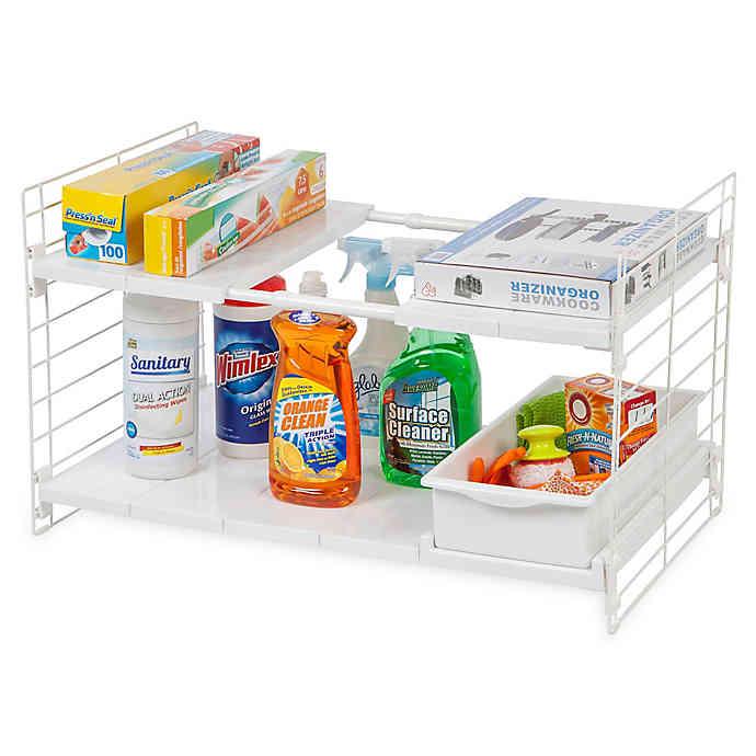 expandable sliding drawer under sink