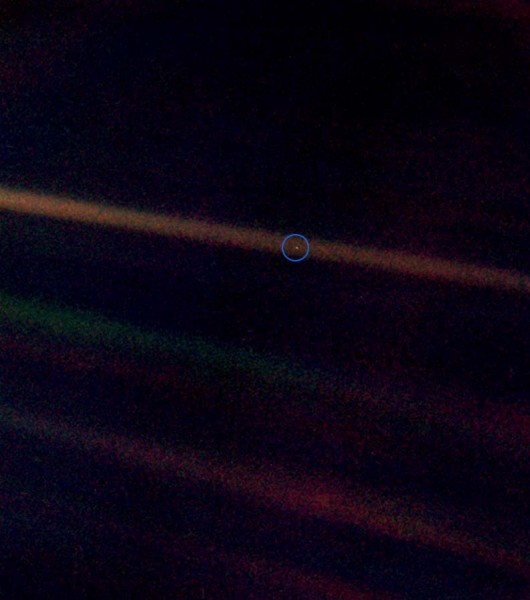Photo of Earth from 3.7 billion miles away, taken by NASA Voyager. Photo Credit: Public Domain.