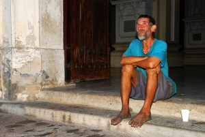 Stranger on church steps