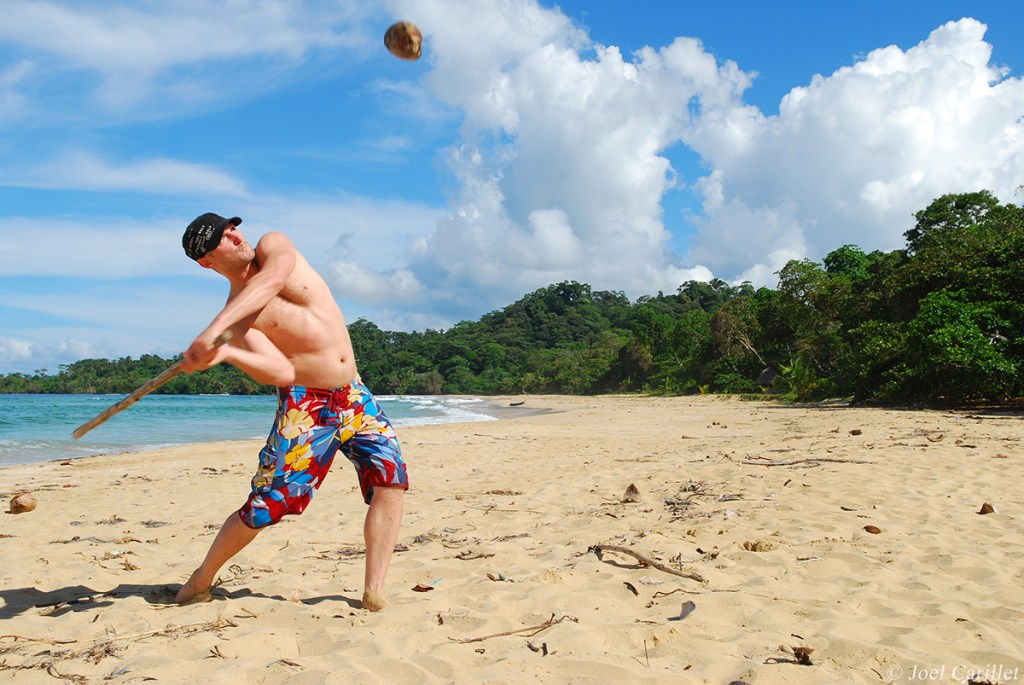Beach baseball with coconut in Bocas del Toro