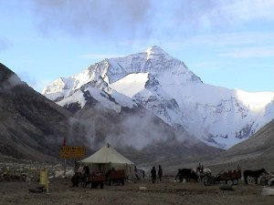 Mount Everest seen from Rongbuk Monastery, Tibet