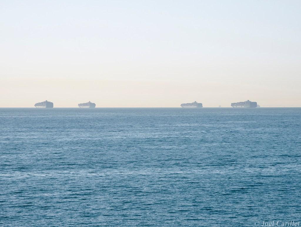 Ships anchored off Long Beach, California