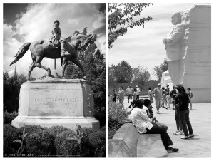 Robert E. Lee statue in Charlottesville, Virginia and Martin Luther King Jr. sculpture in Washington D.C.