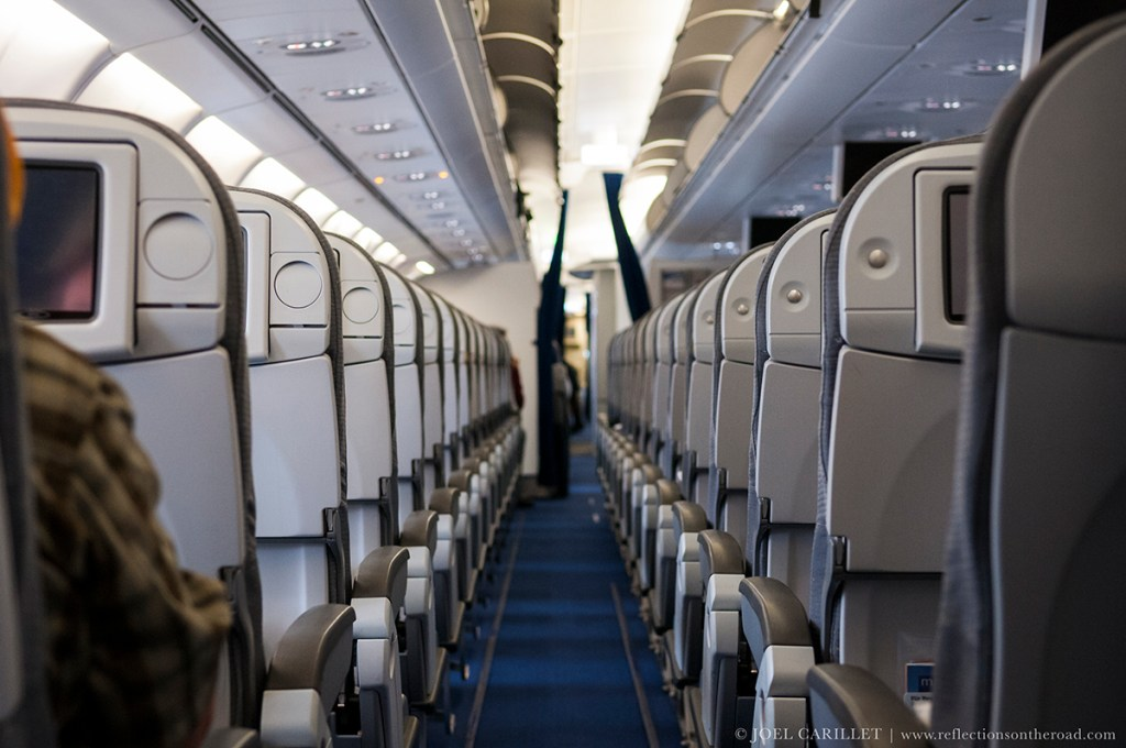 Aboard a mostly empty Lufthansa flight 586, from Munich to Cairo
