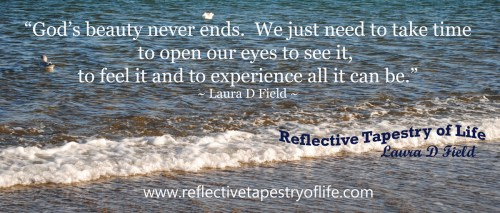 """God's beauty never ends.  We just need to take time to open our eyes to see it, to feel it and to experience all it can be.""<br /><br /> ~ Laura D. Field<br /><br /> Ecclesiastes 3:11 ""He has made everything beautiful in its time.""<br /><br />"