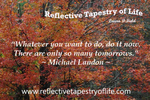 """Whatever you want to do, do it now. There are only so many tomorrows."" ~ Michael Landon Picture provided by Laura D. Field - Oct 2013"