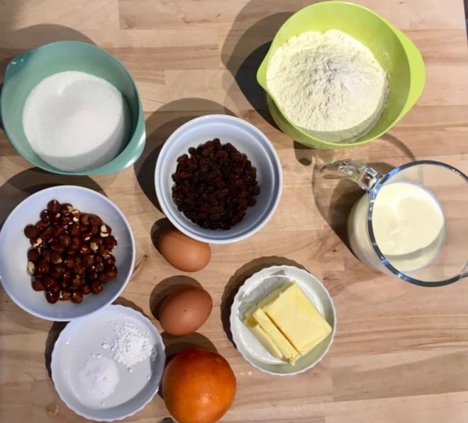 Ingredienser til orangekagen i denne opskrift