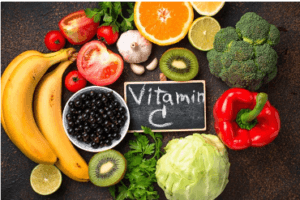 vitamin c and fresh fruit and veg to eat well