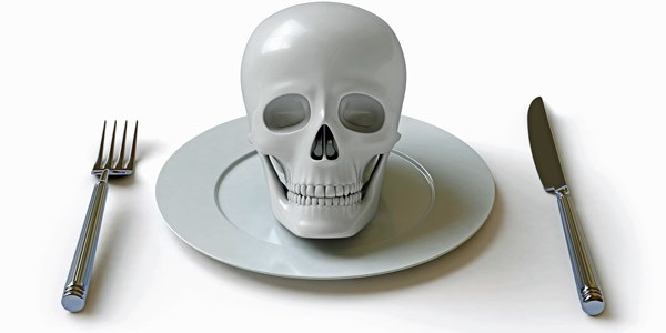 A skull on a plate
