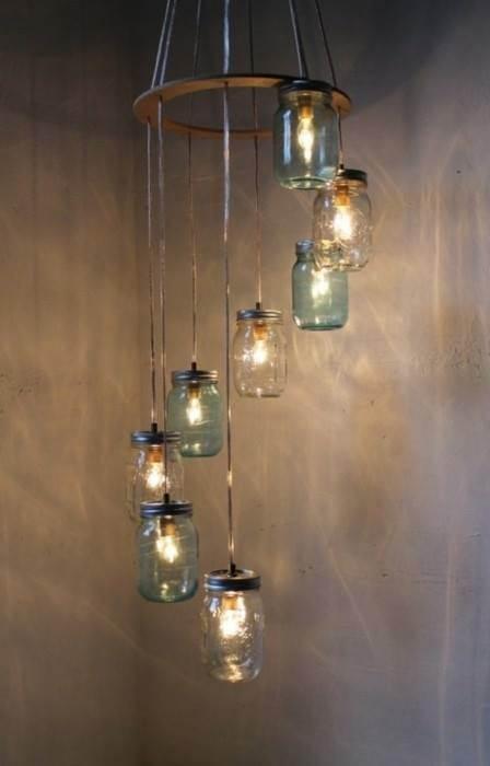 Iluminación con tarros de cristal