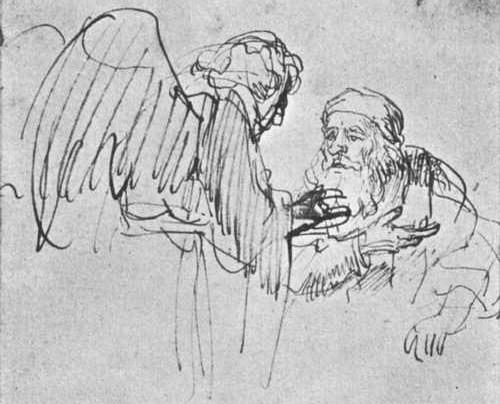 Abraham im Gespräch mit dem Engel, Rembrandt 1636/37
